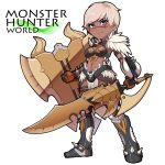 1girl armor armored_boots bikini_armor blonde_hair blush boots charge_blade chibi copyright_name dark_skin eyebrows_visible_through_hair full_body gauntlets holding holding_shield holding_sword holding_weapon horns kupala loincloth looking_at_viewer monster_hunter monster_hunter:_world navel nergigante_(armor) no_nose scar scar_across_eye shield short_hair skull smile solo spikes stomach sword violet_eyes weapon