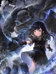 1girl absurdres bangs black_gloves black_hair blue_eyes crystalherb eyebrows_visible_through_hair floating_hair gloves highres long_hair looking_at_viewer magic magical_girl original