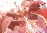 1boy :3 astolfo_(fate) backlighting bangs black_bow black_legwear black_shirt black_skirt bleeding blood bloom boots bow braid buckle cherry_blossoms closed_mouth commentary_request eyebrows_visible_through_hair eyelashes fate/apocrypha fate_(series) faulds feet_out_of_frame from_side fur-trimmed_cloak fur_collar gauntlets glint gold_trim gorget hair_between_eyes hair_bow hair_intakes hand_up holding holding_sword holding_weapon knee_boots light_smile lips long_hair long_sleeves looking_at_viewer looking_to_the_side male_focus miniskirt multicolored_hair petals pink_hair puffy_long_sleeves puffy_sleeves red_cloak red_eyes shirt simple_background single_braid skirt solo streaked_hair sword thigh-highs trap two-tone_hair weapon white_background white_footwear white_hair zettai_ryouiki