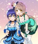 2girls bangs bare_shoulders blue_dress blue_hair blush bow choker commentary_request cowboy_shot dress earrings gloves green_dress grey_hair hair_between_eyes hair_bow hair_ornament jewelry kira-kira_sensation! long_hair looking_at_viewer love_live! love_live!_school_idol_project minami_kotori multiple_girls one_side_up open_mouth smile sonoda_umi thigh-highs white_gloves white_legwear yellow_eyes