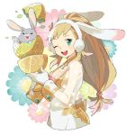 1girl alternate_costume animal_ears blonde_hair breasts cleavage cleavage_cutout cup earmuffs easter_egg fake_animal_ears fire_emblem fire_emblem_heroes flower gloves green_eyes holding long_hair one_eye_closed open_mouth pekaso1118n rabbit rabbit_ears see-through sharena solo white_gloves