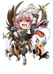 1boy astolfo_(fate) black_bow black_ribbon bow braid cape chibi fang fate/apocrypha fate/grand_order fate_(series) garter_straps hair_intakes hair_ribbon highres hippogriff long_braid long_hair male_focus multicolored_hair open_mouth pink_hair ribbon single_braid smile streaked_hair suga_leon thigh-highs trap violet_eyes waistcoat weapon