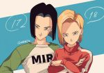 1boy 1girl android_17 android_18 black_hair blonde_hair blue_background blue_eyes brother_and_sister character_name commentary_request crossed_arms dragon_ball dragon_ball_super dragonball_z earrings eyelashes fingernails green_shirt gym_uniform jewelry long_sleeves looking_at_viewer shaded_face shirt short_hair siblings simple_background smile standing tama_azusa_hatsu turtleneck twitter_username white_background white_shirt