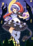 1girl bangs blue_eyes blue_hair blush book capelet castle commentary doremy_sweet dream_soul dress eyebrows_visible_through_hair hat highres looking_at_viewer moon nightcap open_mouth pom_pom_(clothes) short_sleeves smile socks solo star tail tanasuke tapir_tail touhou tower tree white_legwear