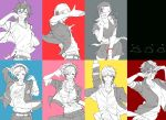 2girls 5boys a_(xxxnulll) amamiya_ren amano_maya arm_up bracelet crossover female_protagonist_(persona_3) glasses headphones jewelry multicolored multicolored_background multiple_boys multiple_girls narukami_yuu persona persona_1 persona_2 persona_3 persona_3:_dancing_moon_night persona_4 persona_4:_dancing_all_night persona_5 persona_5:_dancing_star_night persona_dancing smile suou_tatsuya toudou_naoya yuuki_makoto