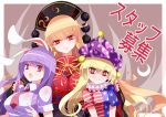 3girls absurdres american_flag_dress animal_ears black_dress blonde_hair breasts bright_pupils clownpiece commentary_request crescent dress fingernails hand_on_another's_shoulder hat head_tilt highres jester_cap junko_(touhou) large_breasts long_fingernails long_hair long_sleeves looking_at_viewer multiple_girls nail_polish neck_ruff necktie pointy_ears polka_dot purple_hair purple_hat purple_nails rabbit_ears raptor7 red_eyes red_neckwear reisen_udongein_inaba sharp_fingernails shirt short_sleeves smile star star_print striped tabard touhou upper_body very_long_hair white_shirt wing_collar