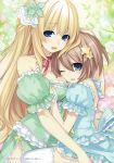2girls :d ;d absurdres bare_shoulders blanc blonde_hair blue_eyes breast_pillow breasts choker detached_sleeves flower frilled_sleeves frills hair_ornament hand_on_another's_head highres large_breasts long_hair looking_at_viewer multiple_girls neck_ribbon neptune_(series) official_art one_eye_closed open_mouth ribbon rose short_hair smile star star_hair_ornament thigh-highs tsunako vert very_long_hair white_flower white_legwear white_rose