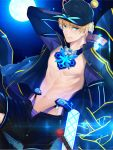 1boy 36.8 artoria_pendragon_(all) baseball_cap blonde_hair closed_mouth fate/grand_order fate/prototype fate_(series) full_moon hat himitsucalibur jacket looking_at_viewer male_focus moon mysterious_heroine_x rojiura_satsuki:_chapter_heroine_sanctuary saber_(fate/prototype) shorts smile solo track_jacket