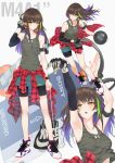 1girl armband armpits arms_up bag ball bangs bare_shoulders basketball basketball_uniform bike_shorts black_bra black_shorts blush bra breasts brown_eyes brown_hair camouflage_tank_top character_name closed_mouth clothes_around_waist clothes_pull collarbone commentary eyebrows_visible_through_hair floating_hair girls_frontline gloves green_hair hair_between_eyes half-closed_eyes hand_in_pocket headphones highres holding holding_ball holding_strap jacket ladic long_hair long_sleeves looking_away m4a1_(girls_frontline) miniskirt multicolored_hair multiple_views nike no_socks open_mouth plaid plaid_shirt purple_hair running shirt shirt_around_waist shirt_lift shoes shorts side_ponytail sidelocks simple_background single_glove skirt small_breasts sneakers sony sports_bag sportswear strap streaked_hair sweat sweatdrop tank_top teal_skirt thighs underwear walkman white_background wristband
