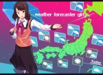 1girl :d black_skirt blue_umbrella brown_eyes forecast gradient gradient_background japan long_skirt looking_at_viewer medium_hair news news_channel open_mouth original over_shoulder parasol pink_background pointer purple_background red_neckwear ryokucha_michi skirt smile solo standing umbrella weather