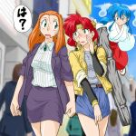 3girls 90s belt blue_eyes blue_hair blush breasts brooch commentary commentary_request denim denim_skirt earrings ghost_sweeper_mikami green_eyes himuro_kinu japanese_clothes jewelry koi_tsuka large_breasts long_hair mikami_reiko miko miniskirt multiple_girls orange_hair redhead shirt short_hair shoryuki skirt striped striped_shirt