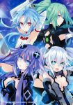 4girls absurdres armpits arms_up bangs bare_shoulders black_heart breasts cleavage cleavage_cutout eyebrows_visible_through_hair flat_chest green_hair green_heart hair_ornament highres kami_jigen_game_neptune_v large_breasts long_hair looking_at_viewer looking_back multiple_girls neptune_(series) official_art open_mouth parted_lips ponytail power_symbol purple_hair purple_heart red_eyes scan simple_background sleeveless smile symbol-shaped_pupils tsunako twintails violet_eyes white_hair white_heart