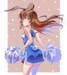 1girl animal_ears brown_eyes brown_hair bunny_girl bunny_tail cheerleader iesupa rabbit_ears rwby solo tail velvet_scarlatina
