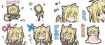 >_< +++ 1girl :> :d :o ahoge animal animal_ears bangs beamed_semiquavers black_dress black_eyes blanket blonde_hair blush_stickers butterfly chibi closed_eyes closed_mouth crossed_arms dog_ears dog_girl dog_tail dress eyebrows_visible_through_hair facing_away facing_viewer hair_between_eyes holding holding_leash insect leash long_hair looking_at_viewer maid maid_headdress musical_note open_mouth original parted_lips puffy_short_sleeves puffy_sleeves quaver rinechun short_sleeves smile standing standing_on_one_leg tail thigh-highs thumbs_up tongue tongue_out translation_request white_legwear x_arms xd |_|
