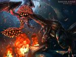 battle bazelgeuse bioluminescence biting claws copyright_name debris deviljho dinosaur dragon drooling epic explosion fire flying full_body glowing glowing_eyes highres monster_hunter monster_hunter:_world no_humans outdoors raruru scales sparks spikes standing wyvern