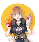 1girl absurdres apron belt black_shirt blue_eyes brown_hair chip_(c_chip) circle dated drink drinking_straw food french_fries grey_neckwear highres intrepid_(kantai_collection) kantai_collection looking_at_viewer mcdonald's neck_pillow open_mouth ponytail shirt short_hair signature simple_background smile solo two-tone_background upper_body white_background