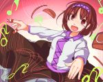 1girl :d blush brown_eyes brown_hair brown_skirt commentary_request fang furorina hairband long_sleeves looking_at_viewer musical_note open_mouth quaver short_hair skirt smile solo touhou tsukumo_yatsuhashi upper_body v-shaped_eyebrows