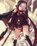 1girl absurdres belt boots breasts cape cleavage commentary_request from_below fur_trim grin hair_over_one_eye hand_up highres holding holding_sword holding_weapon hood hood_up looking_at_viewer nail_polish nekobell red_eyes shadowverse short_hair silver_hair sleeves_past_wrists smile solo standing sword thigh-highs thigh_boots thigh_strap thighs weapon