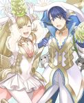 1girl alfonse_(fire_emblem) animal animal_ears aym_(ash3ash3ash) blonde_hair blue_hair braid breasts brother_and_sister bunny_girl bunny_tail bunnysuit cleavage detached_collar fake_animal_ears fire_emblem fire_emblem_heroes gloves green_eyes long_hair looking_at_viewer medium_breasts multicolored_hair open_mouth rabbit rabbit_ears sharena short_hair siblings simple_background smile tail white_background