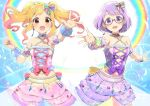 2girls :d absurdres aikatsu!_(series) aikatsu_stars! arm_garter bangs bare_shoulders beads blonde_hair blush bow breasts brown_eyes choker commentary cowboy_shot cross-laced_clothes earrings eyebrows_visible_through_hair fingernails frills gem glasses hair_bow heart highres jewelry lavender_hair layered_skirt long_hair looking_at_viewer medium_breasts midriff multicolored multicolored_hair multicolored_nail_polish multiple_girls nail_polish nanakura_koharu navel nijino_yume open_mouth outstretched_arm pink-framed_eyewear pink_bow pink_hair purple_bow round_teeth semi-rimless_eyewear short_hair skirt sleeveless smile sparkle standing star star_print teeth twintails two-tone_hair violet_eyes wara_(warapro) wrist_cuffs