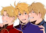 3boys blonde_hair brothers clenched_teeth family fate/prototype fate/prototype:_fragments_of_blue_and_silver fate_(series) father_and_son hand_on_another's_shoulder kay_(fate) looking_at_viewer mordred_(fate/prototype) multiple_boys saber_(fate/prototype) siblings simple_background teeth upper_body white_background yuuya_(aice)