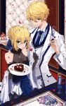 1boy 1girl :o absurdres ahegao ahoge arthur_pendragon_(fate) artoria_pendragon_(all) bangs black_gloves blonde_hair blue_dress blue_neckwear blush breasts buffet cake chocolate chocolate_heart cleavage collarbone collared_shirt cup dress drink drinking_glass earrings elbow_gloves eyebrows_visible_through_hair eyelashes fate/grand_order fate/prototype fate/stay_night fate_(series) food fork formal fruit gloves green_eyes hair_between_eyes hair_bun halter_dress heart height_difference highres holding holding_drinking_glass holding_fork holding_plate indoors jacket jewelry layered_dress long_sleeves looking_at_viewer medium_breasts necktie open_clothes open_jacket open_mouth osanai parted_lips petals plate rose_petals saber saber_(fate/prototype) shirt sidelocks signature sleeveless sleeveless_dress slice_of_cake small_breasts standing star strawberry striped striped_shirt suit table tablecloth unbuttoned vertical-striped_shirt vertical_stripes white_jacket wing_collar