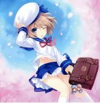 1girl absurdres bag beret blanc blue_eyes brown_hair cherry_blossoms hand_on_headwear hat highres holding keychain kneehighs knees_together_feet_apart midriff navel neck_ribbon neptune_(series) official_art one_eye_closed open_mouth outdoors petals pleated_skirt ram_(choujigen_game_neptune) ribbon rom_(choujigen_game_neptune) school_bag school_uniform serafuku shirt short_hair skirt tsunako white_legwear wind