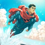 1boy abs arthur_asa boots cape chest clark_kent dc_comics flying highres justice_league muscle ocean short_hair sky superhero superman superman_(series)