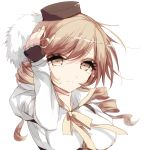 1girl absurdres bangs bent_elbows bow breasts brown_eyes brown_gloves brown_hair closed_mouth commentary eyebrows_visible_through_hair fingerless_gloves fingernails gloves hair_between_eyes highres long_hair long_sleeves looking_at_viewer mahou_shoujo_madoka_magica misteor solo swept_bangs tomoe_mami white_background