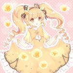1girl black_ribbon blonde_hair bow breasts brooch brown_eyes character_request commentary_request crown cube dress frilled_sleeves frills gloves gourmet_kizuna hair_ornament hair_ribbon hexagram highres jewelry light_(luxiao_deng) long_hair mini_crown open_mouth orange_bow pink_background polka_dot polka_dot_background ribbon ringlets sidelocks skirt_hold small_breasts solo striped striped_bow symbol-shaped_pupils twintails upper_teeth very_long_hair white_gloves wide_sleeves yellow_bow yellow_dress