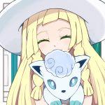 1girl alola_form alolan_vulpix blonde_hair braid closed_eyes cu-sith gen_1_pokemon hat holding lillie_(pokemon) long_hair pokemon pokemon_(creature) pokemon_(game) pokemon_sm sun_hat twin_braids white_hat