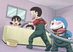 1girl 2boys @_@ asymmetrical_bangs bangs bare_shoulders basket bath bathing bathroom bathtub bell bell_collar black_eyes black_hair blush boots ceiling collar collared_shirt commentary_request d: doraemon doraemon_(character) dutch_angle eyebrows_visible_through_hair floor foot_out_of_frame full_body gachon_jirou green_footwear hair_between_eyes hidetoshi_dekisugi holding_hose hose indoors low_twintails minamoto_shizuka mixed_bathing multiple_boys nobi_nobita open_mouth overalls parted_bangs pocket polo_shirt rape_face red_shirt robot scared shirt short_hair short_sleeves standing sweat tears tiles tongue tongue_out twintails upper_teeth wall whiskers window