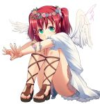 1girl angel_wings aqua_eyes bangs cross-laced_footwear feathered_wings frilled_sleeves frills hair_ornament hairpin head_wreath highres knees_up kurosawa_ruby love_live! love_live!_sunshine!! nanotsuki one_side_up redhead sandals signature simple_background sitting skirt smile solo white_background white_wings wing_hair_ornament wings