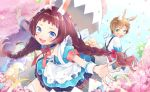 1boy 1girl :d :o animal_ears bangs black_choker blue_dress blue_eyes blue_sky blush bow braid brown_hair choker clouds commentary confetti day dress easter easter_egg egg eggshell frilled_choker frills green_eyes hair_bow highres kouhara_yuyu light_brown_hair long_hair looking_at_viewer low_twintails open_mouth original outdoors outstretched_arms puffy_short_sleeves puffy_sleeves rabbit_ears red_bow shirt short_sleeves sidelocks sky smile spread_arms suspenders twin_braids twintails very_long_hair white_shirt wrist_cuffs