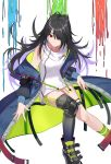 arm_strap bangs belt_boots black_hair black_legwear boots c-ms_(girls_frontline) closed_mouth clothes_writing coat collarbone dress expressionless floating floating_hair girls_frontline green_legwear hair_over_one_eye head_tilt highres long_hair looking_at_viewer microdress mole mole_under_eye multicolored_coat multiple_belts off_shoulder open_clothes open_coat pocket red_eyes sidelocks simple_background single_knee_pad single_sock single_thighhigh socks strap thigh-highs thigh_strap tsuaaa white_dress zipper
