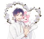 1boy :d blue_eyes character_name dated flower hair_flower hair_ornament hair_tie highres ho_nyang12 looking_at_viewer male_focus mizuno_yuu musical_note my_melody open_mouth purple_hair quaver rose sanrio sanrio_danshi smile solo sparkle thorns upper_body white_flower