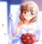 1girl arm_up bangs bare_shoulders blue_eyes blush bouquet breasts bridal_veil brown_hair closed_mouth dress earrings elbow_gloves eyebrows_visible_through_hair flower gloves hairband highres holding holding_bouquet idolmaster idolmaster_cinderella_girls jewelry looking_at_viewer medium_breasts medium_hair nanananananasea necklace pendant petals pinky_out red_flower red_rose rose rose_petals sakuma_mayu smile solo sparkle strapless strapless_dress stud_earrings tareme upper_body veil wedding_dress white_dress white_earrings white_gloves