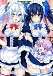 3girls absurdres alternate_costume apron bare_shoulders black_hair black_heart blue_eyes breasts character_doll cleavage frills hair_ornament highres long_hair looking_at_viewer maid maid_apron maid_headdress multiple_girls neptune_(choujigen_game_neptune) neptune_(series) noire official_art puffy_sleeves red_eyes ribbon sample smile symbol-shaped_pupils tsunako twintails very_long_hair waist_apron white_hair