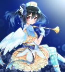 1girl angel_wings argyle argyle_legwear bangs black_hair blue_background blue_bow blue_ribbon blurry blush bokeh bow depth_of_field frilled_skirt frills gloves hair_between_eyes hair_bow hat highres holding holding_instrument horn_(instrument) instrument invisible_chair kishikino looking_back love_live! love_live!_school_idol_festival love_live!_school_idol_project red_eyes ribbon sitting skirt smile solo thigh-highs twintails white_gloves wings yazawa_nico