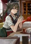 1girl absurdres bangs black_eyes blush book_stack bookshelf closed_mouth couch cup curtains cushion green_hair hair_ribbon hakama highres hip_vent holding holding_cup indoors japanese_clothes kanmiya_shinobu kantai_collection kimono light_particles long_hair looking_at_viewer muneate on_chair paper pencil red_hakama ribbon room saucer shiny shiny_hair smile solo steam tea teapot tray twintails two-handed white_kimono white_ribbon window zuikaku_(kantai_collection)
