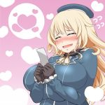 1girl atago_(kantai_collection) beret black_gloves blonde_hair blush breasts closed_mouth gloves gradient gradient_background happy hat heart heart_background huge_breasts kantai_collection long_hair pink_background roah solo speech_bubble wavy_mouth