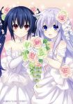 2girls absurdres black_hair blush bouquet bride dress elbow_gloves flower gloves hair_flower hair_ornament highres long_hair multiple_girls nepgear neptune_(series) noire official_art purple_hair red_eyes smile tsunako twintails very_long_hair violet_eyes wedding_dress