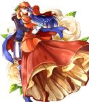 1boy 1girl blue_eyes blue_hair blush cape couple delsaber dress fire_emblem fire_emblem:_fuuin_no_tsurugi fire_emblem_heroes full_body gift gloves hat hetero highres hug jewelry lilina long_hair open_mouth redhead roy_(fire_emblem) short_hair simple_background smile