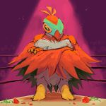 absurdres boxing_ring bummerdude claws commentary creature crossed_arms flower full_body gen_6_pokemon hawlucha highres looking_at_viewer no_humans pokemon pokemon_(creature) red_flower red_rose rose solo standing yellow_eyes