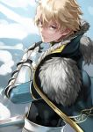 1boy 55level armor blonde_hair cape fate/prototype fate_(series) gauntlets grey_eyes highres looking_at_viewer looking_back male_focus saber_(fate/prototype) solo