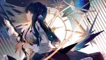 1girl arknights astesia_(arknights) blue_eyes blue_hair clock constellation dress floral_print globe highres holding holding_sword holding_weapon lobelia_(saclia) long_hair profile rapier sword weapon
