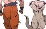 2boys clenched_hands crossed_arms dragon_ball dragonball_z frieza head_out_of_frame imamuu_(imamoon) male_focus multiple_boys shirtless simple_background son_gokuu standing tail twitter_username white_background wristband