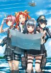 ! 4girls ? aircraft airplane aqua_eyes arare_(kantai_collection) black_hair blue_eyes brown_eyes clouds didloaded grey_vest hat highres imperial_japanese_navy kagerou_(kantai_collection) kantai_collection kasumi_(kantai_collection) multiple_girls pink_hair school_uniform shiranui_(kantai_collection) shirt short_hair short_sleeves skirt sky suspenders vest white_shirt