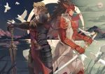 2boys armor breastplate fire_emblem fire_emblem_if gauntlets gloves helm helmet holding holding_sword holding_weapon katana long_hair marks_(fire_emblem_if) multiple_boys pauldrons ryouma_(fire_emblem_if) spiky_hair sword weapon