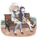 2girls ahoge backpack backpack_removed bag bench black_hair black_hoodie blonde_hair blue_eyes blush brown_footwear closed_mouth cnm dress eating food food_on_face fujinami_(kantai_collection) full_body gambier_bay_(kantai_collection) hair_ribbon hairband hamburger highres hood hoodie kantai_collection loafers long_hair long_sleeves multiple_girls open_clothes open_hoodie outdoors ribbon shoes side_ponytail sitting smile sparkle tears thigh-highs twintails wavy_mouth white_legwear yellow_eyes